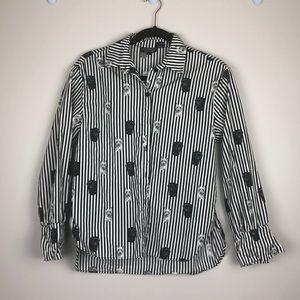 Topshop stripe dog blouse
